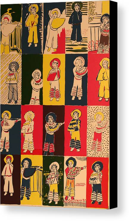 Canvas Print featuring the painting Twenty Little Mexicans by Biagio Civale