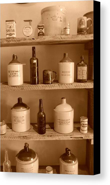 Sepia Photographs Canvas Print featuring the photograph Vintage Jugs by Dennis Hammer