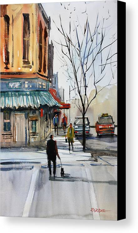 Paintings Canvas Print featuring the painting Walking The Dog by Ryan Radke