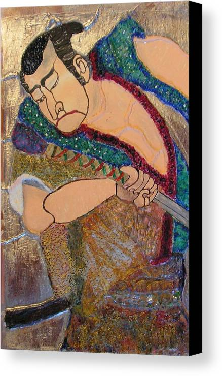 Figure Canvas Print featuring the mixed media Warrior by John Vandebrooke