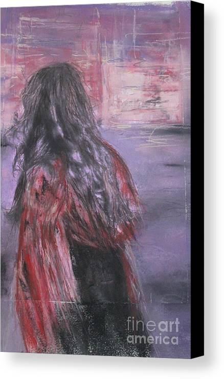 Painting Canvas Print featuring the painting Woman And Scarf by Sigalit Aharoni