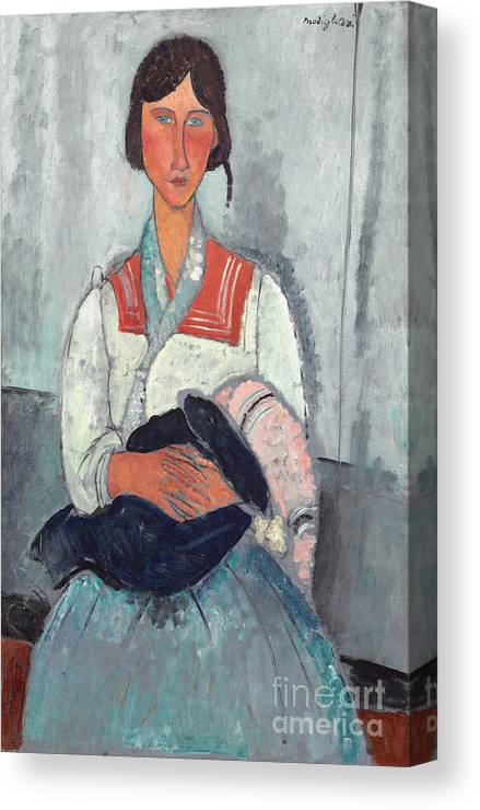 Sailor; Collar; Bobble; Hat; Scarf; Mother And Child; Portrait; Female Canvas Print featuring the painting Gypsy Woman With Baby by Amedeo Modigliani
