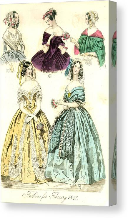 1842 Canvas Print featuring the painting Women's Fashion, 1842 by Granger