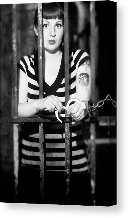 Model Canvas Print featuring the photograph Behind Bars by Jim Poulos