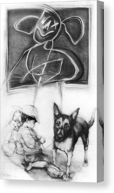 Doggy Canvas Print featuring the drawing Doggy by Gustavo Macri