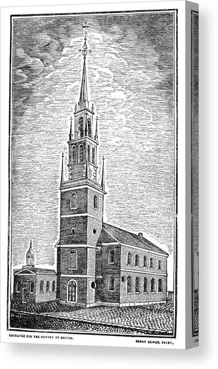 1775 Canvas Print featuring the photograph Old North Church, 1775 by Granger