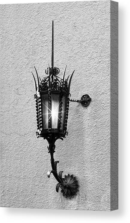 Lighting Canvas Print featuring the photograph Outdoor Wall Lamp Bw by Linda Phelps