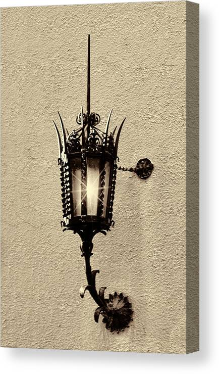 Lighting Canvas Print featuring the photograph Wall Lamp Sepia by Linda Phelps