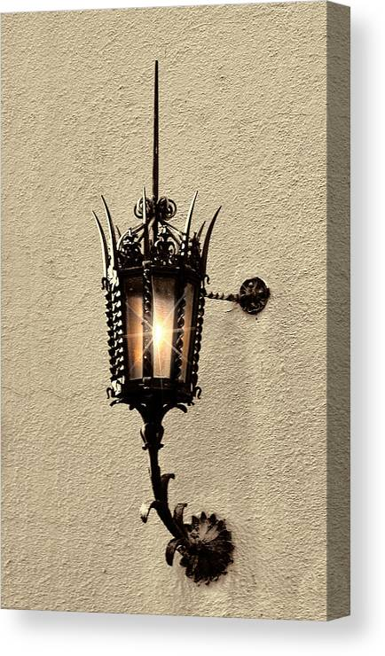 Lighting Canvas Print featuring the photograph Wall Lamp Umber Sepia by Linda Phelps