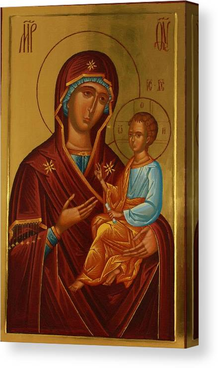 Virgin And Child Canvas Print featuring the digital art Virgin And Child Religious Art by Carol Jackson