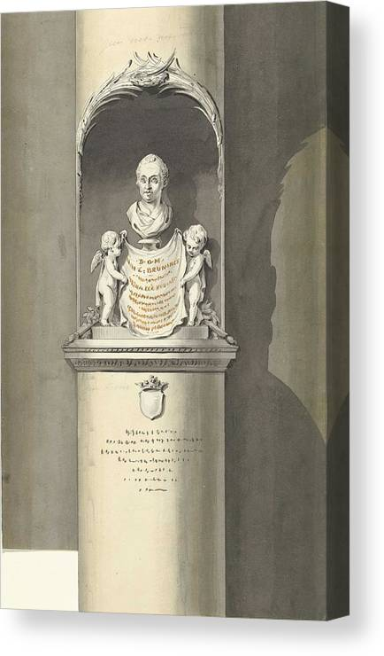 Man Canvas Print featuring the painting Design For A Monument To C. Brunings A Bust In A Niche, Bartholomeus Ziesenis, 1806 by Bartholomeus Ziesenis