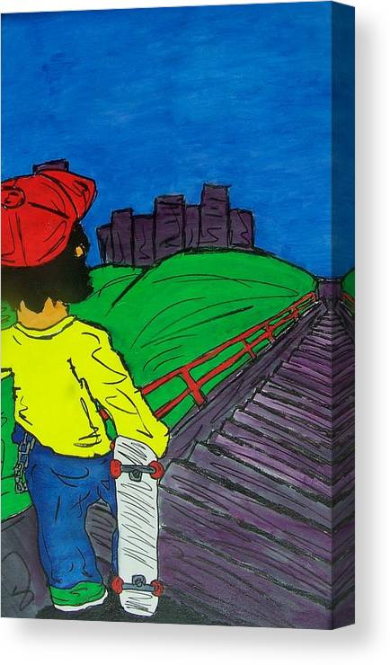 City Canvas Print featuring the painting Face Your Fears by Mike Naze