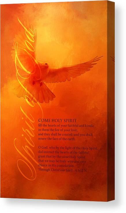 picture regarding Come Holy Spirit Prayer Printable named Holy Spirit Prayer Vertical Canvas Print