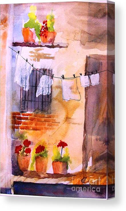 Canvas Print featuring the painting Laundry Day by Sandi Stonebraker