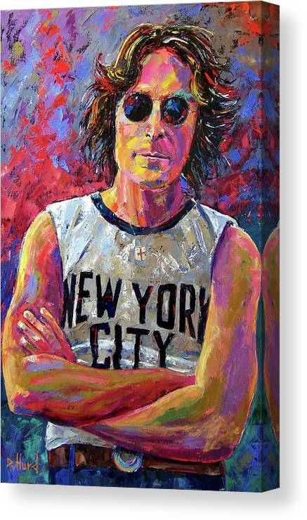 John Lennon Canvas Print featuring the painting Lennon New York by Debra Hurd