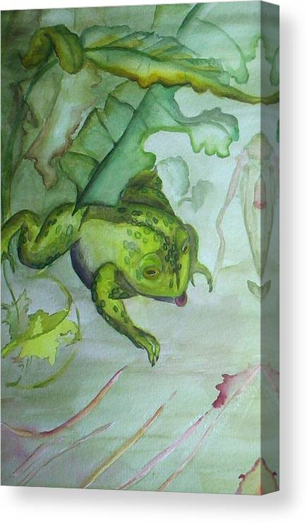 Small Matted And Framed Watercolor Painting Of One Frog In An Abstracted Nature Setting. Canvas Print featuring the painting One Frog by Georgia Annwell