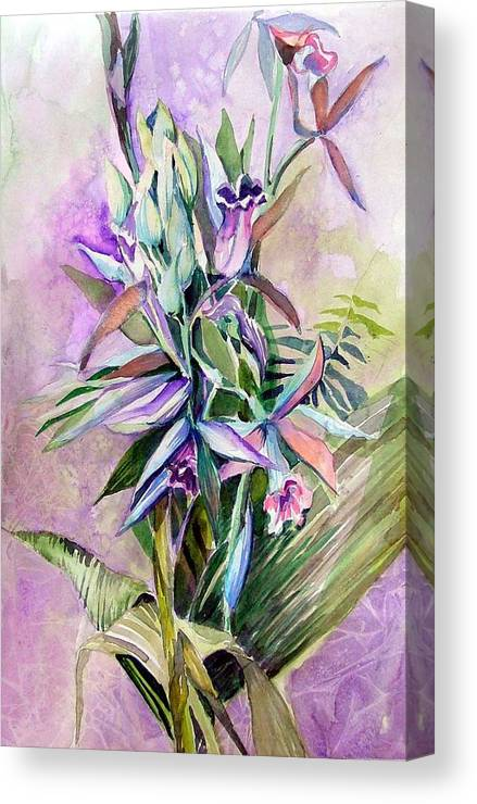 Orchids Canvas Print featuring the painting Orchids- Botanicals by Mindy Newman