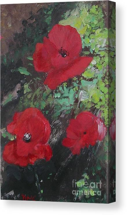 Red Canvas Print featuring the painting Poppies by Lizzy Forrester