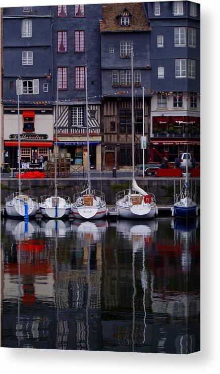 Boats Canvas Print featuring the painting Reflections Of France by Nancy Bradley