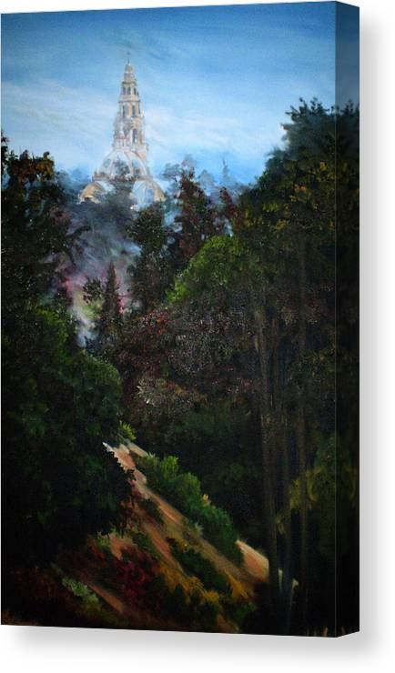 Balboa Park Canvas Print featuring the painting Tower West Of 163 by Duke Windsor