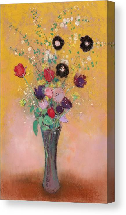 Odilon Redon Canvas Print featuring the painting Vase Of Flowers, 1916 by Odilon Redon