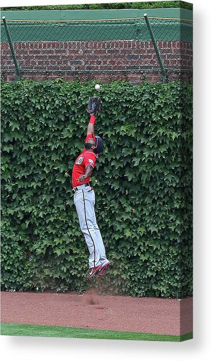 Ball Canvas Print featuring the photograph Denard Span And Justin Ruggiano by Jonathan Daniel
