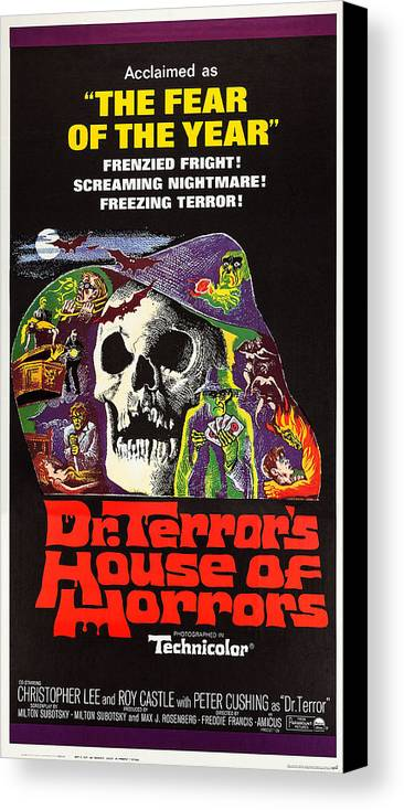 1960s Movies Canvas Print featuring the photograph Dr. Terrors House Of Horrors, Poster by Everett