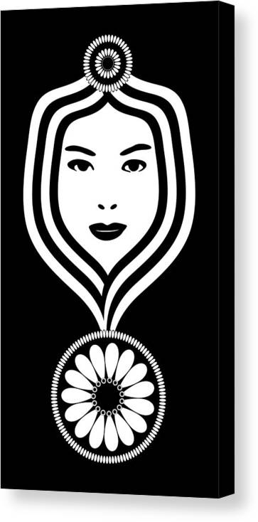 Art Nouveau Woman Canvas Print featuring the drawing Art Nouveau Woman by Frank Tschakert