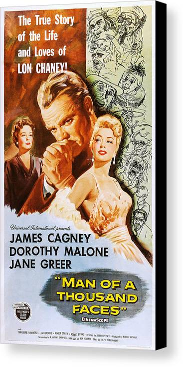 1950s Poster Art Canvas Print featuring the photograph Man Of A Thousand Faces, Us Poster by Everett