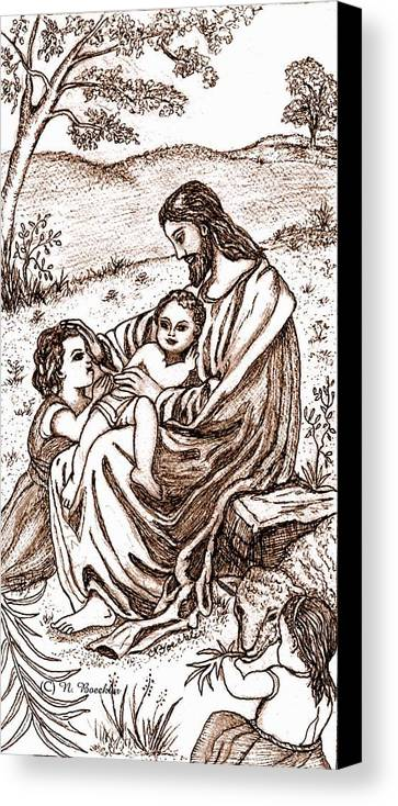 Sepia Drawing Canvas Print featuring the drawing Jesus And The Children by Norma Boeckler