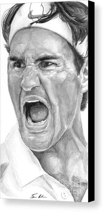 Federer Canvas Print featuring the painting Intensity Federer by Tamir Barkan