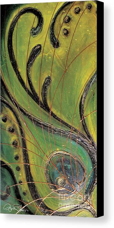 Greens Canvas Print featuring the painting Twisted Peacock by Gina Rivas-Velazquez