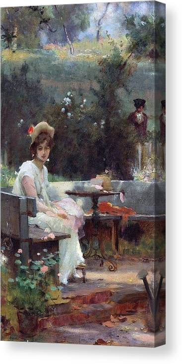 Marcus Stone 1840 - 1921 Canvas Print featuring the painting Secret Admirer by MotionAge Designs