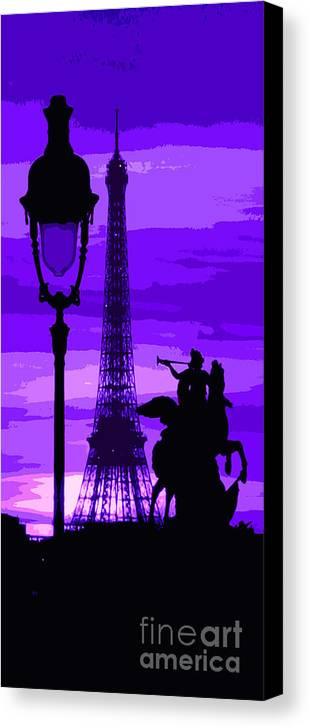 Paris Canvas Print featuring the photograph Paris Tour Eiffel Violet by Yuriy Shevchuk