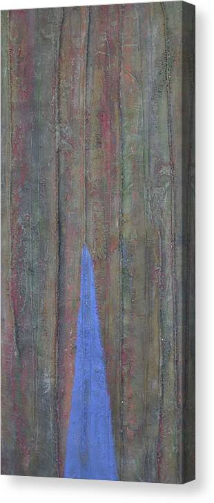 Tree Trunk Blue Abstract Nature Canvas Print featuring the painting Trunk by Sally Van Driest