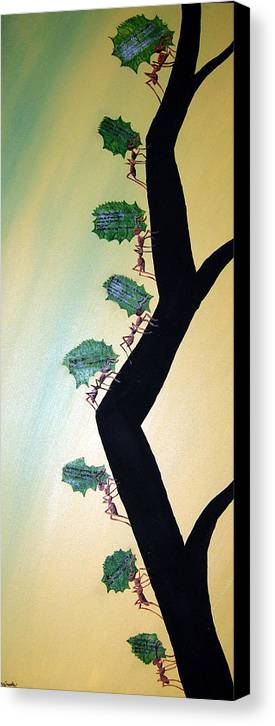 Ant Canvas Print featuring the mixed media Rainforest Information Superhighway by Sharon Supplee