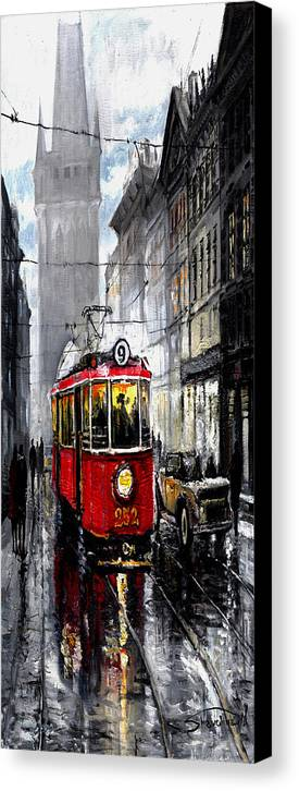 Prague Canvas Print featuring the mixed media Red Tram by Yuriy Shevchuk