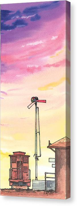 Carpinteria Canvas Print featuring the painting Caboose by Ray Cole