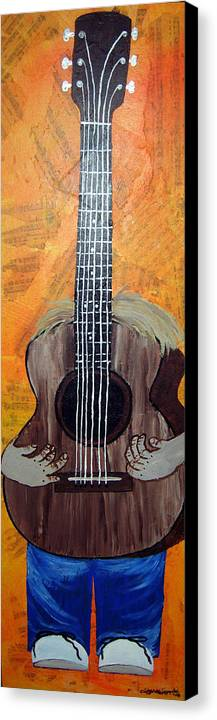 Guitar Canvas Print featuring the mixed media Play For Me by Sharon Supplee