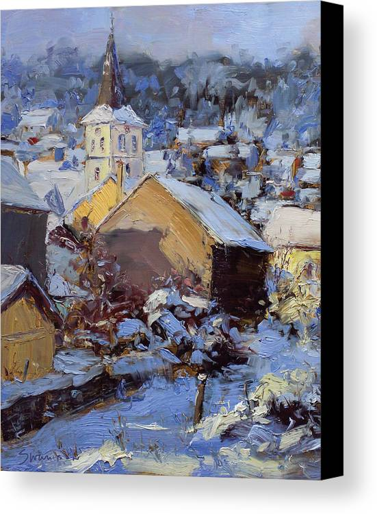 Snow Canvas Print featuring the painting Snow Village by James Swanson