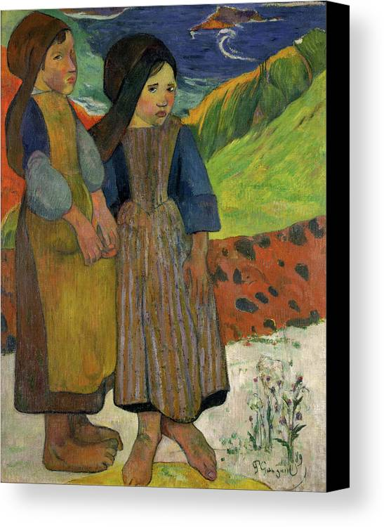 Paul Gauguin Canvas Print featuring the painting Two Breton Girls By The Sea by Paul Gauguin
