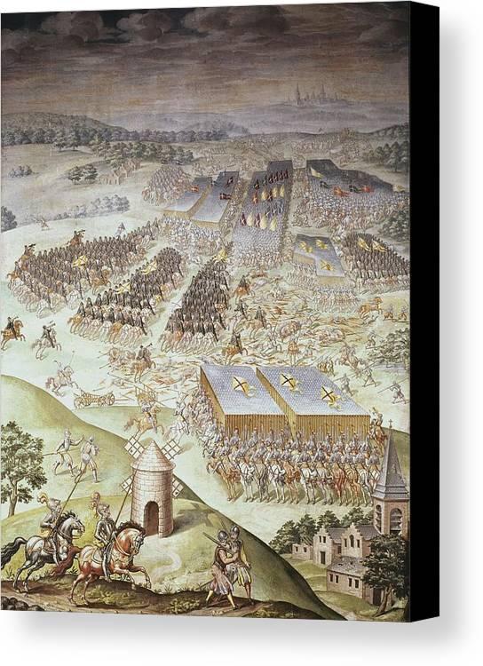 Vertical Canvas Print featuring the photograph Castello, Fabrizio 1562-1617. Battle by Everett