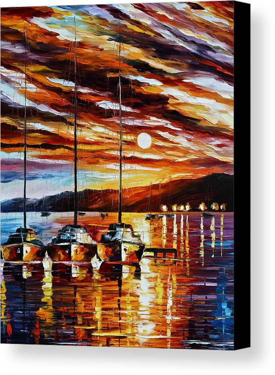 Sea Canvas Print featuring the painting 3 Borthers by Leonid Afremov