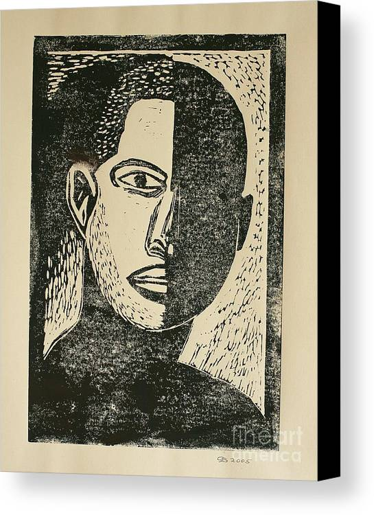 Lino Cut Canvas Print featuring the mixed media A Dark Side by Christiane Schulze Art And Photography