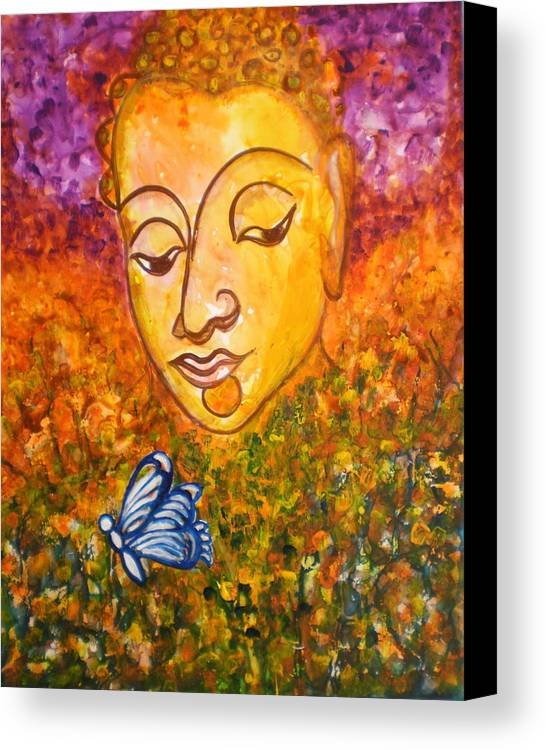 Abstract Print Art Painting Buddha Butterfly Purple Inspirational Traditional Yellow Red Orange Canvas Print featuring the photograph A Soulful Journey by Manjiri Kanvinde