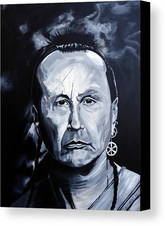 Russell Means Canvas Print featuring the painting American Indian by Anthony Morales