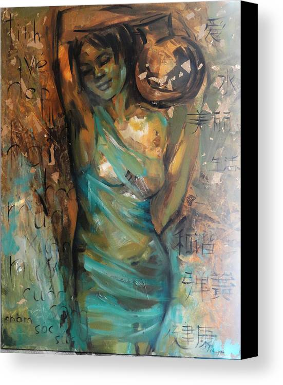 Canvas Print featuring the painting At The Spring by Nelya Shenklyarska