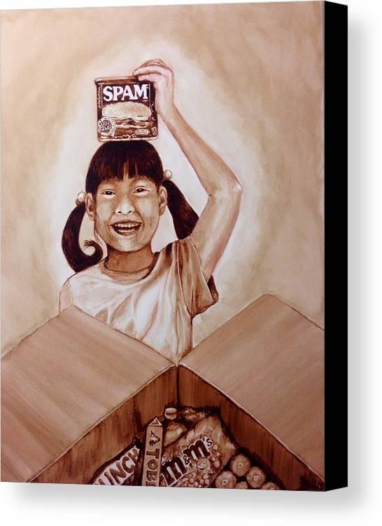 Balikbayan Box Canvas Print featuring the painting Balikbayan Box by Clarisse Pastor-Medina