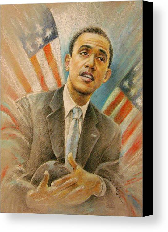 Barack Obama Portrait Canvas Print featuring the painting Barack Obama Taking It Easy by Miki De Goodaboom