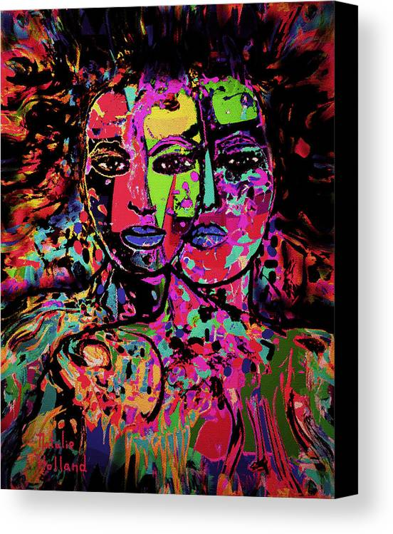 Woman Canvas Print featuring the mixed media Best Friends Forever by Natalie Holland